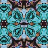 蓝色开花背景 抽象玫瑰 库存例证
