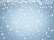 蓝色弄脏了抽象圣诞节冬天天空雪雪花纹理背景 库存图片