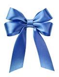 蓝色弓丝带缎 免版税库存照片