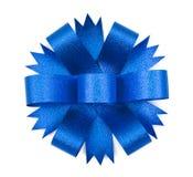 蓝色弓丝带 库存图片