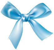 蓝色弓丝绸 免版税库存照片