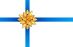 蓝色弓金黄丝带 免版税库存照片