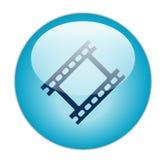 蓝色影片玻璃状图标主街上 免版税库存照片