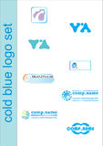 蓝色徽标集 免版税库存图片