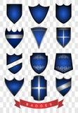 蓝色徽章 免版税图库摄影
