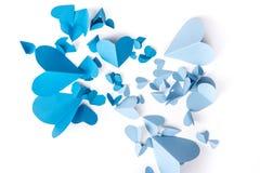 蓝色心脏纸 库存图片