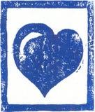 蓝色心脏- Linocut印刷品 免版税图库摄影
