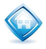 蓝色房子图标 库存图片