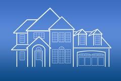 蓝色房子打印 库存图片