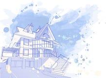 蓝色房子水彩