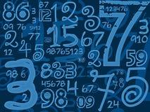 蓝色手工制造数字算术背景 免版税图库摄影