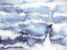 蓝色手拉波浪最小的水彩绘画葡萄酒的天空 库存图片