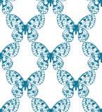 蓝色手拉的蝴蝶的传染媒介无缝的样式 免版税库存图片