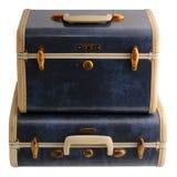蓝色手提箱二葡萄酒 库存图片