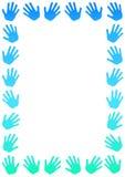 蓝色手边界框架 库存照片