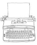 蓝色打字机葡萄酒 免版税图库摄影
