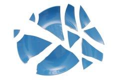 蓝色打破的板材 免版税图库摄影