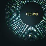 蓝色技术圆为您的商标模板 能 库存例证