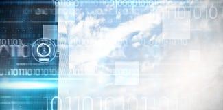 蓝色技术设计的综合图象与二进制编码的 免版税库存照片