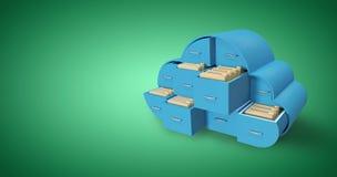 蓝色抽屉的综合图象在云彩形状的与文件夹3d 库存照片
