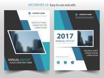 蓝色抽象三角年终报告小册子设计模板传染媒介 企业飞行物infographic杂志海报 抽象格式 库存例证
