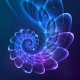 蓝色抽象传染媒介分数维宇宙螺旋 免版税图库摄影