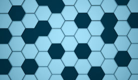 蓝色抽象六角细胞背景 图库摄影