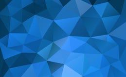 蓝色抽象几何弄皱的三角背景低多样式 向量例证