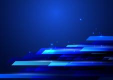蓝色抽象发光的高科技行动几何形状背景 免版税图库摄影