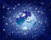 蓝色抽象地球Backround 免版税库存照片