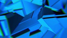 蓝色抽象多角形打破的形状动摇无缝的圈 3D动画 皇族释放例证