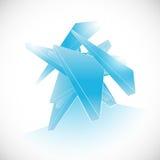 蓝色抽象宝石碎片水晶象商标模板 库存图片