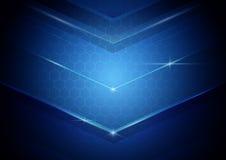蓝色抽象数字式高技术概念背景 免版税库存照片