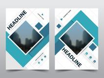 蓝色抽象方形的年终报告小册子设计模板传染媒介 企业飞行物infographic杂志海报 免版税库存图片