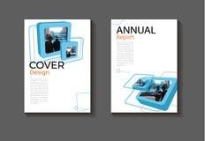 蓝色抽象盖子设计现代书套小册子盖子te 免版税库存图片