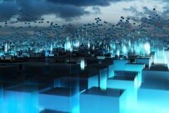 蓝色抽象立方体 免版税库存图片