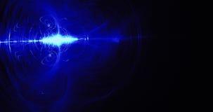 蓝色抽象线曲线微粒背景 免版税库存照片