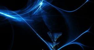 蓝色抽象线曲线微粒背景 免版税库存图片