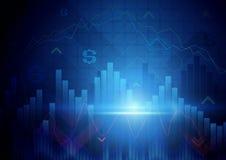 蓝色抽象股市概念背景 免版税图库摄影