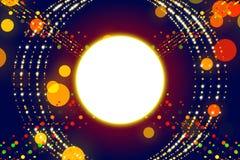 蓝色抽象背景、光芒和金微粒 库存图片