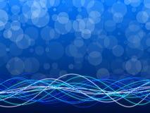 蓝色抽象背景、圈子和形式 库存图片