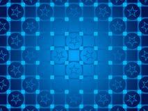 蓝色抽象背景、微粒圈子和正方形,星 免版税库存照片