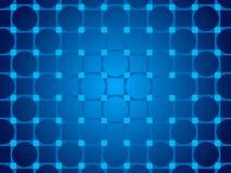 蓝色抽象背景、微粒圈子和正方形 库存照片
