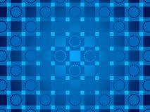 蓝色抽象背景、微粒圈子和正方形 免版税库存照片