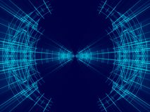 蓝色抽象背景、线和光 免版税库存图片