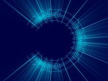 蓝色抽象背景、线和光 免版税库存照片