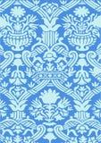 蓝色抽象花卉样式葡萄酒背景 库存图片
