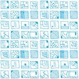 蓝色抽象长方形形状,无缝的样式 库存图片