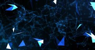 蓝色抽象3d在黑背景,与蓝线的几何形状的翻译技术结节动态数字表面 皇族释放例证