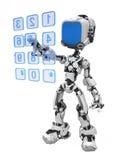 蓝色拨号的机器人屏幕 向量例证